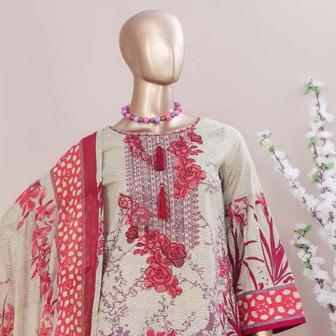 Schick Embroidered Lawn 3 Piece Un-Stitched Suit - 10
