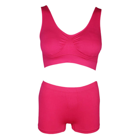Women's Sports Bra & Panty Set - Dark Pink - test-store-for-chase-value