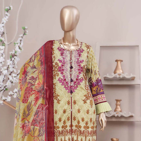 Schick Embroidered Lawn 3 Piece Un-Stitched Suit - 03