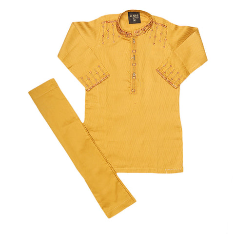 Boys Embroidered Kurta Shalwar Suit - Mustrad