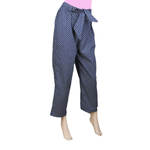 Women's Printed Trouser - Navy Blue