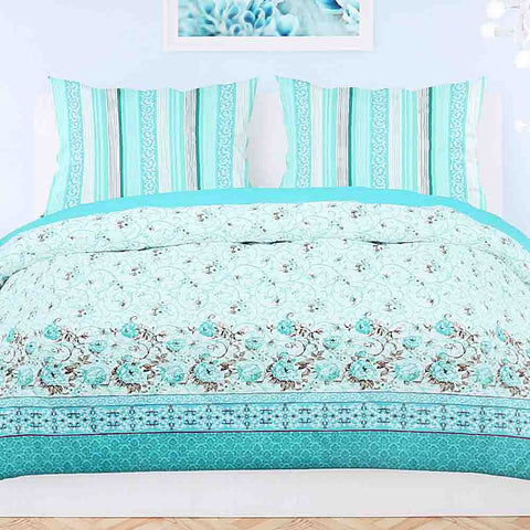 Printed King Size Percale Finish Bed Sheet 3 Piece Set - Multi