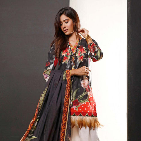 Salina Digital Printed Cotton 3 Piece Un-Stitched Suit - 01