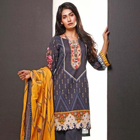 Salina Digital Printed Cotton 3 Piece Un-Stitched Suit - 02