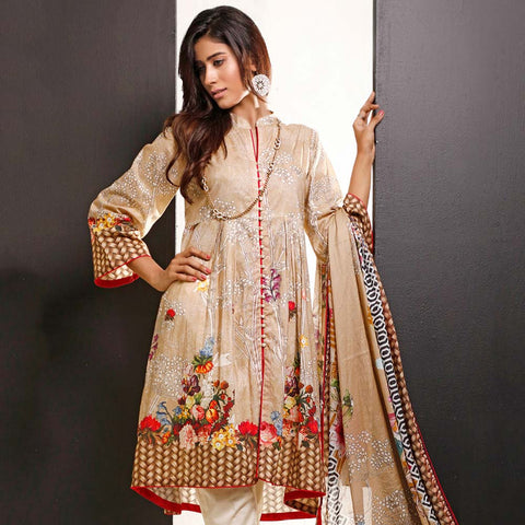 Salina Digital Printed Cotton 3 Piece Un-Stitched Suit - 03