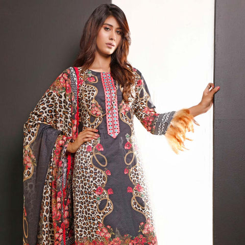 Salina Digital Printed Cotton 3 Piece Un-Stitched Suit - 05