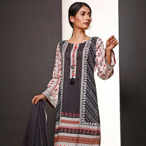 Salina Digital Printed Cotton 3 Piece Un-Stitched Suit - 06