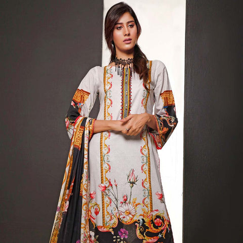 Salina Digital Printed Cotton 3 Piece Un-Stitched Suit - 07