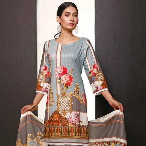 Salina Digital Printed Cotton 3 Piece Un-Stitched Suit - 08