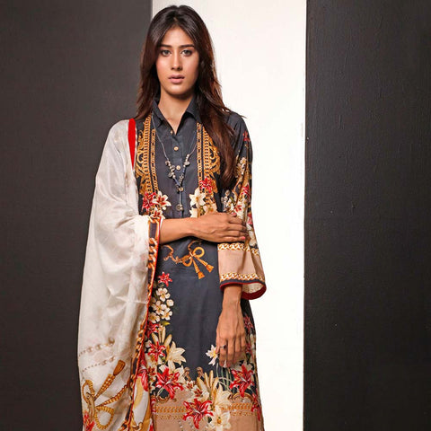 Salina Digital Printed Cotton 3 Piece Un-Stitched Suit - 09
