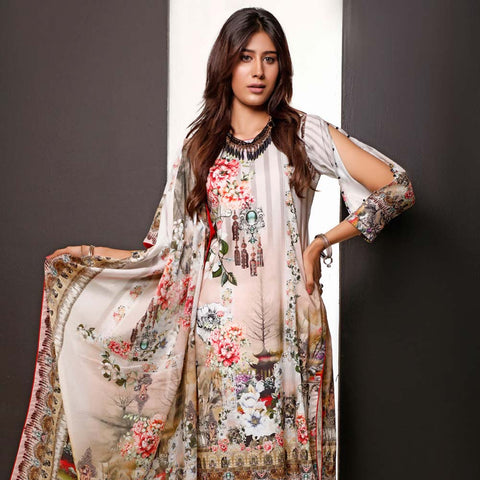 Salina Digital Printed Cotton 3 Piece Un-Stitched Suit - 11
