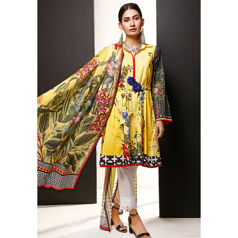 Salina Digital Printed Cotton 3 Piece Un-Stitched Suit - 12