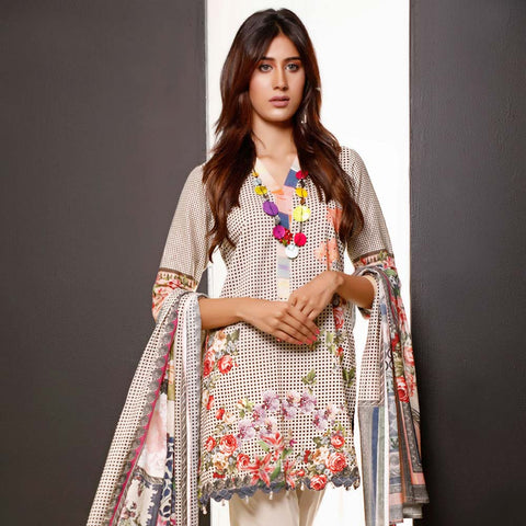 Salina Digital Printed Cotton 3 Piece Un-Stitched Suit - 13