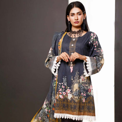 Salina Digital Printed Cotton 3 Piece Un-Stitched Suit - 14