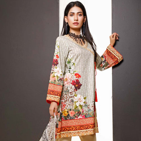 Salina Digital Printed Cotton 3 Piece Un-Stitched Suit - 15