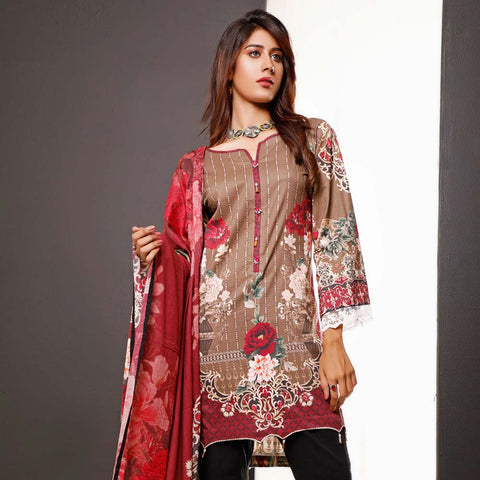 Salina Digital Printed Cotton 3 Piece Un-Stitched Suit - 16