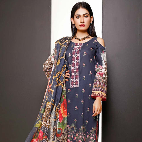 Salina Digital Printed Cotton 3 Piece Un-Stitched Suit - 17