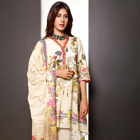 Salina Digital Printed Cotton 3 Piece Un-Stitched Suit - 18