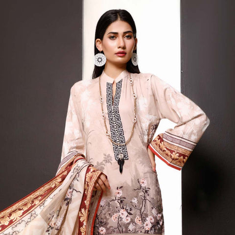 Salina Digital Printed Cotton 3 Piece Un-Stitched Suit - 19
