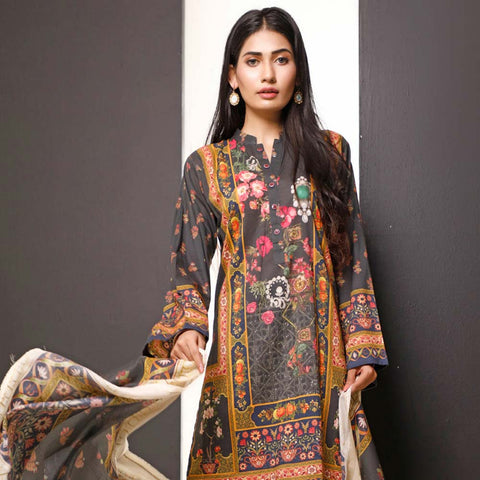 Salina Digital Printed Cotton 3 Piece Un-Stitched Suit - 21
