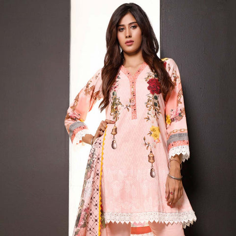 Salina Digital Printed Cotton 3 Piece Un-Stitched Suit - 23