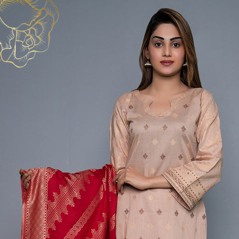 RA Jacquard Cambric 3 Piece Un-Stitched Suit Vol 3 - 1