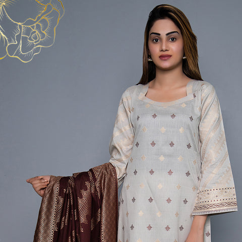 RA Jacquard Cambric 3 Piece Un-Stitched Suit Vol 3 - 2