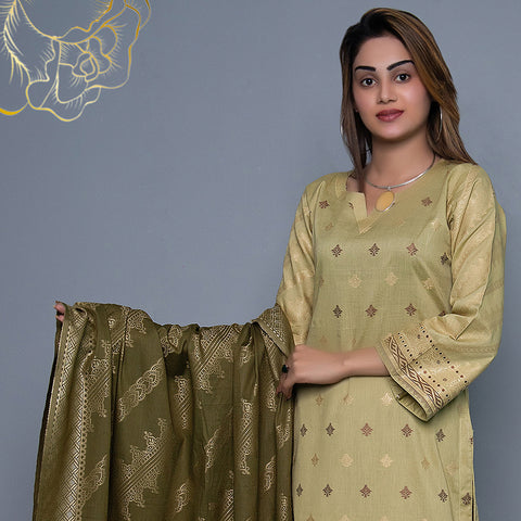 RA Jacquard Cambric 3 Piece Un-Stitched Suit Vol 3 - 3