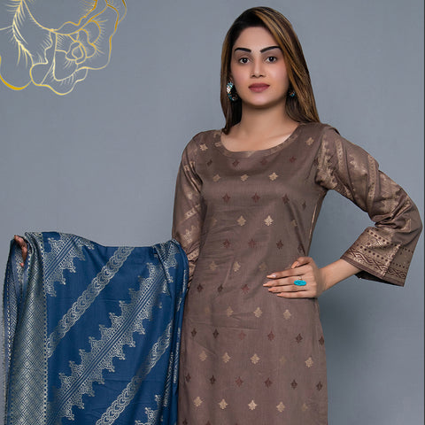 RA Jacquard Cambric 3 Piece Un-Stitched Suit Vol 3 - 4