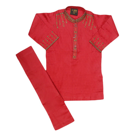 Boys Embroidered Kurta Shalwar Suit - Maroon