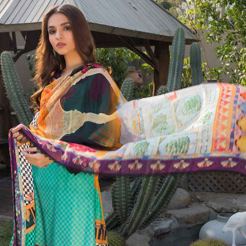 Malhar Digital Printed Lawn 3 Piece Un-Stitched Suit - 01