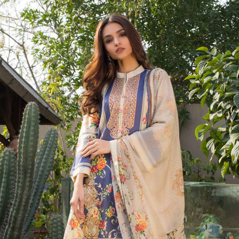 Malhar Digital Printed Lawn 3 Piece Un-Stitched Suit - 02