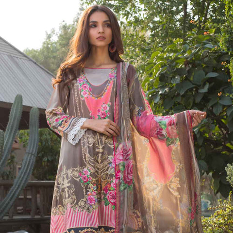 Malhar Digital Printed Lawn 3 Piece Un-Stitched Suit - 04
