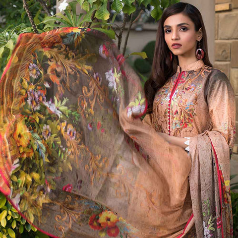 Malhar Digital Printed Lawn 3 Piece Un-Stitched Suit - 07