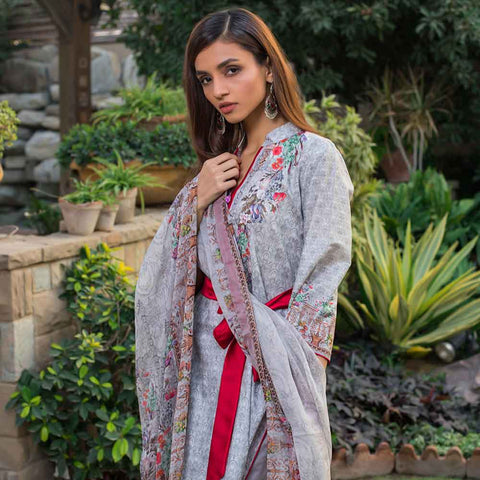 Malhar Digital Printed Lawn 3 Piece Un-Stitched Suit - 08