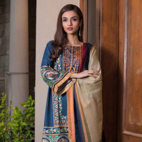 Malhar Digital Printed Lawn 3 Piece Un-Stitched Suit - 09
