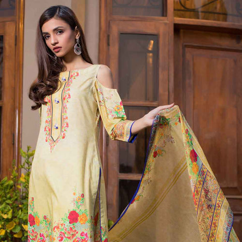 Malhar Digital Printed Lawn 3 Piece Un-Stitched Suit - 10