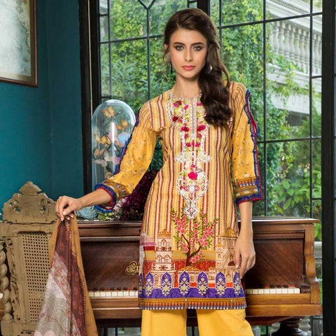 Salina Digital Embroidered Lawn 3 Piece Un-Stitched Suit - 02