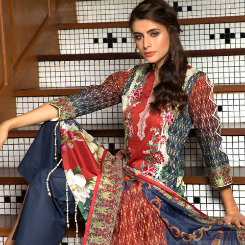 Salina Digital Embroidered Lawn 3 Piece Un-Stitched Suit - 03