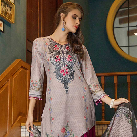 Salina Digital Embroidered Lawn 3 Piece Un-Stitched Suit - 04