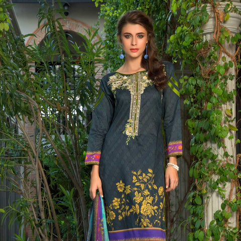 Salina Digital Embroidered Lawn 3 Piece Un-Stitched Suit - 05