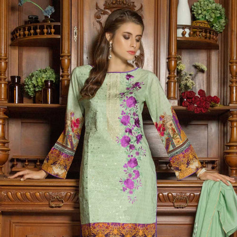 Salina Digital Embroidered Lawn 3 Piece Un-Stitched Suit - 06