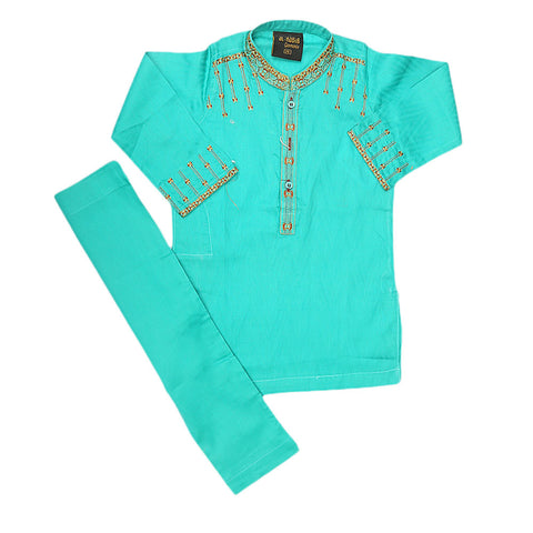 Boys Embroidered Kurta Shalwar Suit - Sea Green