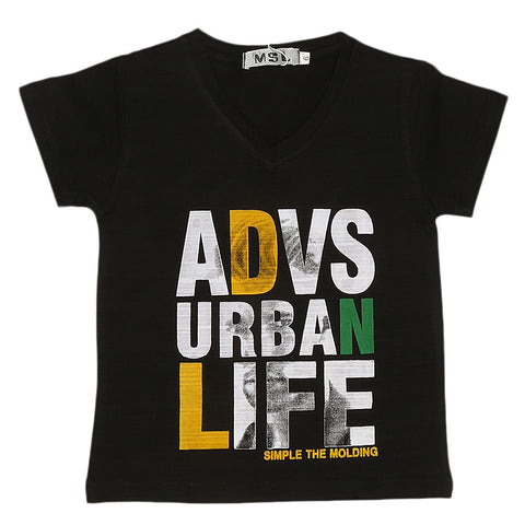 Boys Half Sleeves T-Shirt - Black