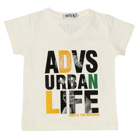 Boys Half Sleeves T-Shirt - White