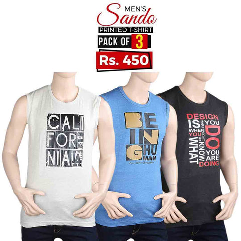 Men's Printed Sando T-Shirts Pack Of 3 - Multi - test-store-for-chase-value