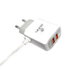 Ronin Type C Charger With 2 USB Port & Attached Data Cable R-722 - White