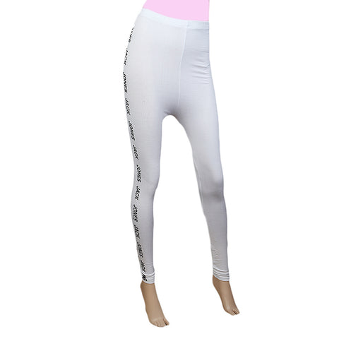 "Women's Side Print Tight 39""  White"