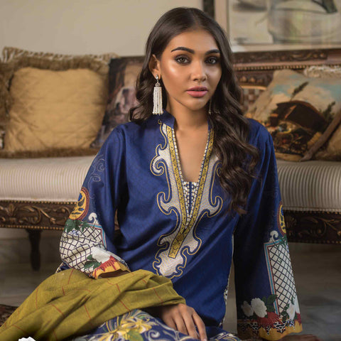 Malkah Embroidered Cambric Cotton 3 Piece Un-Stitched Suit - 01