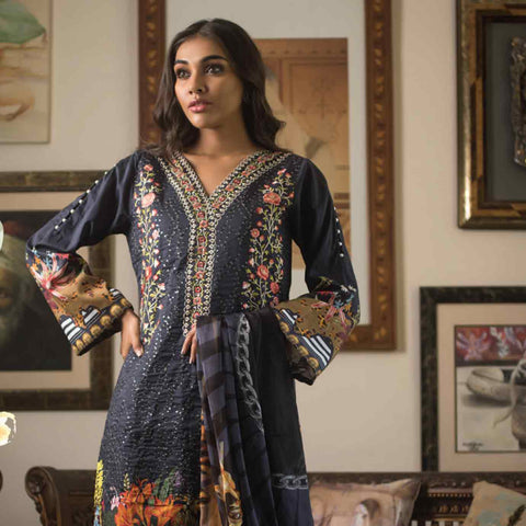 Malkah Embroidered Cambric Cotton 3 Piece Un-Stitched Suit - 02